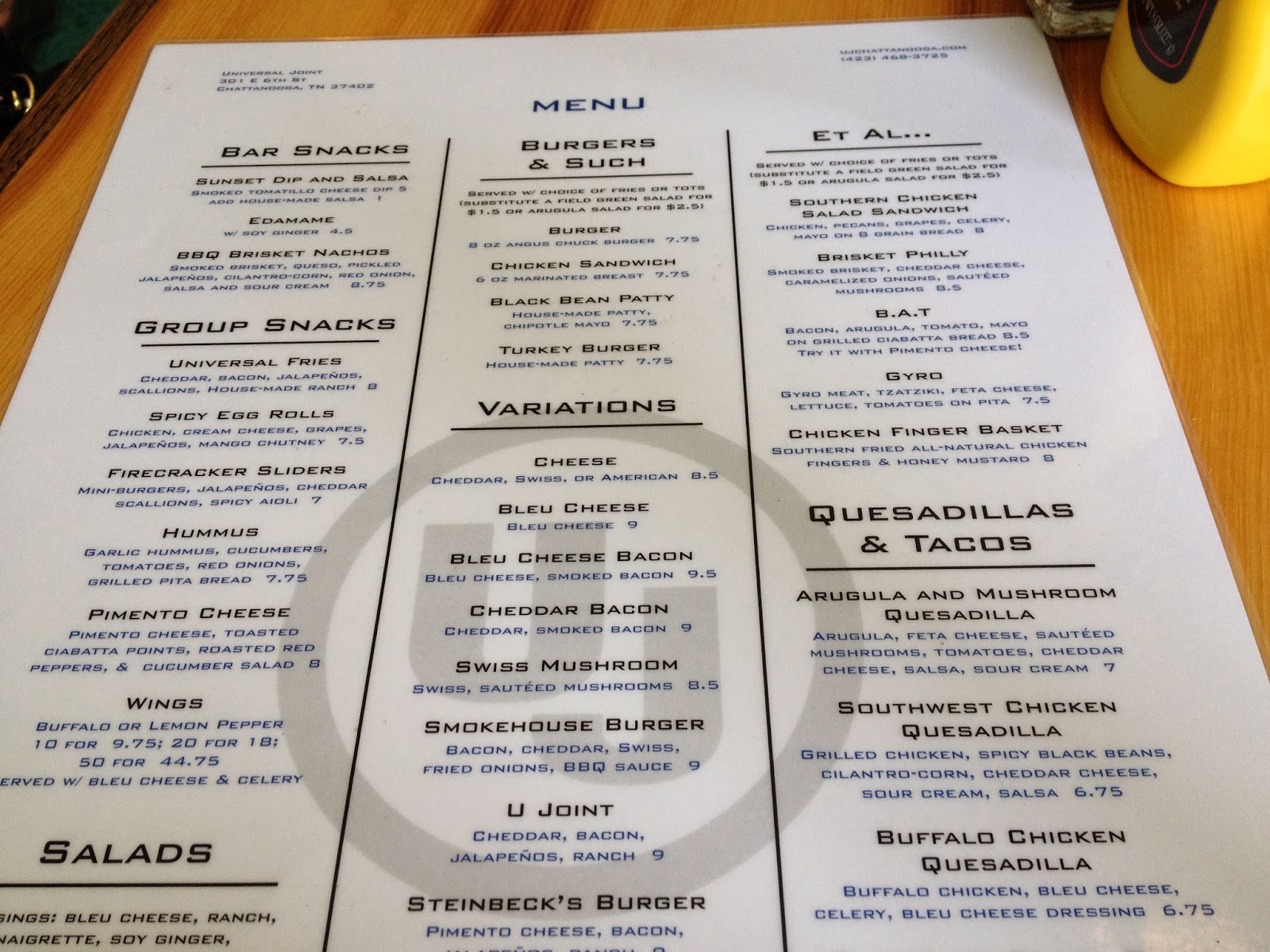 Universal Joint Menu >> Universal Joint Eat Drink Frolic