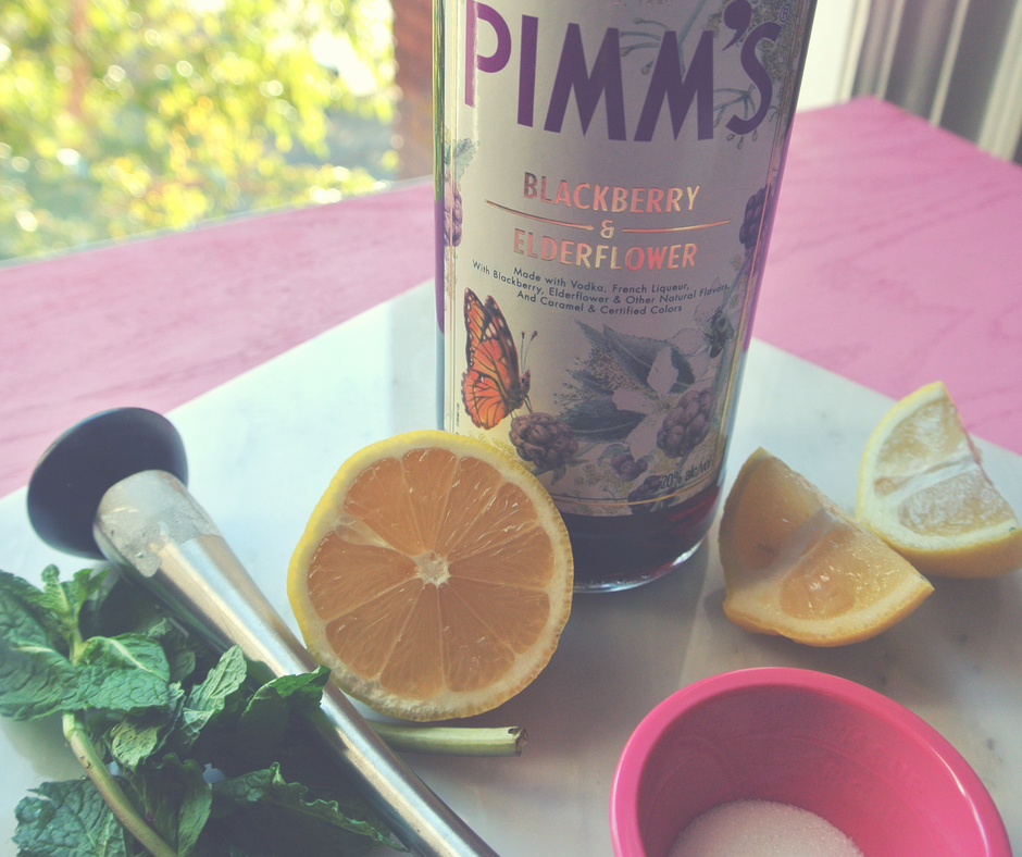 Pimm's mojito made with Pimm's Elderflower and blackberry.