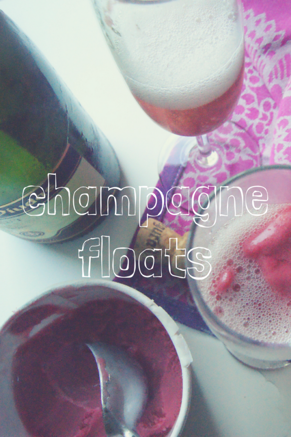 Champagne floats with raspberry sorbet.