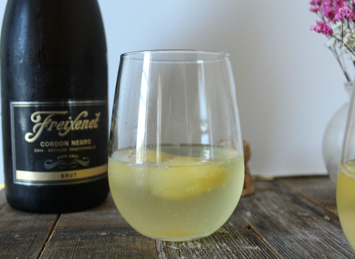 Make creative mimosas by freezing your favorite juice and adding them to a glass of champagne.