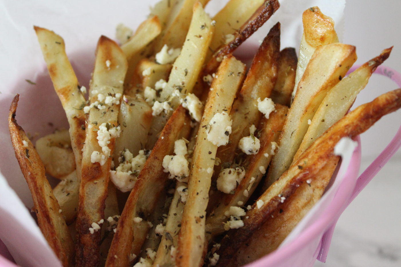 I love fried french fries but baking them allows all of the flavors to bake into it in a really delicious way. Try it.