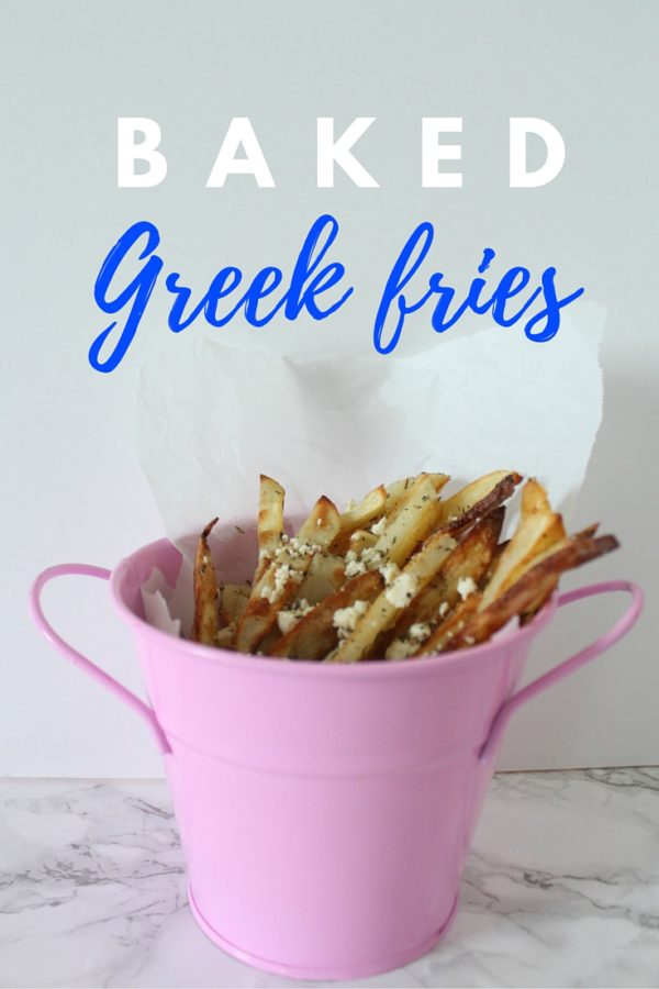 Greek fries are my new favorite way to enjoy french fries. Served warm with olive oil, feta cheese and herbs and spices. It's the best.