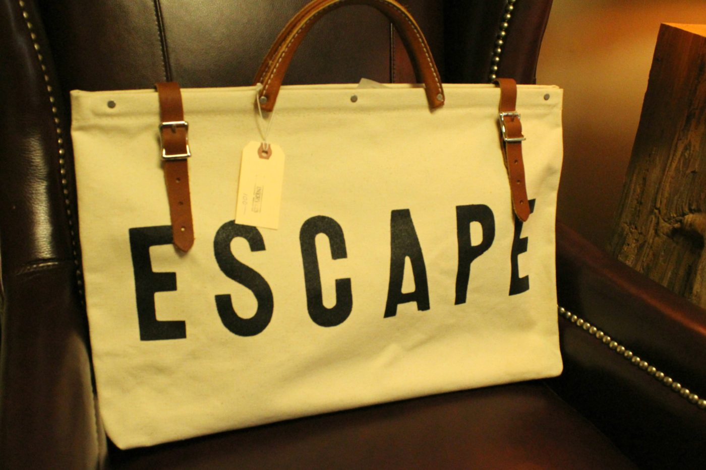 "This ""escape"" travel bag is perfect for weekend getaways."
