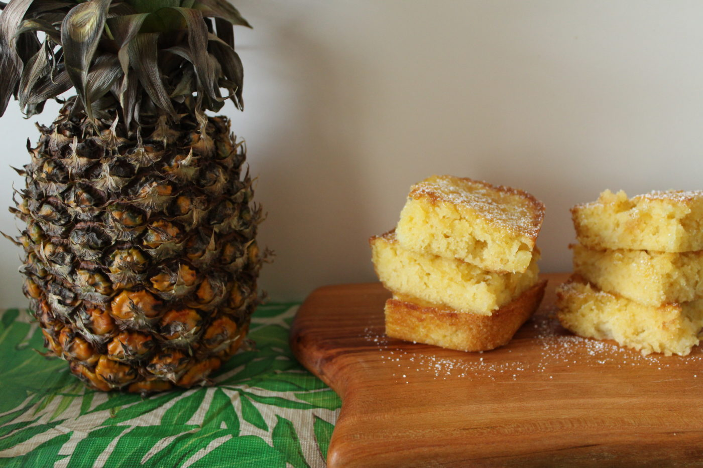 Pineapple bars can be enjoyed on their own or with a scoop of ice cream or with a few fresh berries.