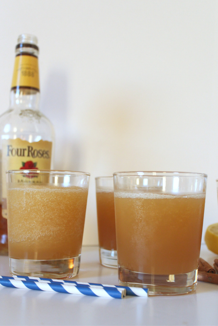 Boozy slushies made with bourbon and apple cider are the perfect way to celebrate the beginning of Autumn. They're easy to make and delicious to drink at any time.