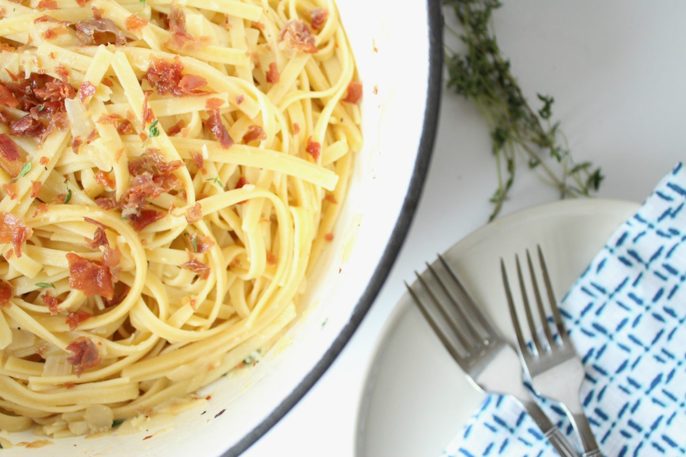 The perfect pasta, topped with crispy proscuitto.