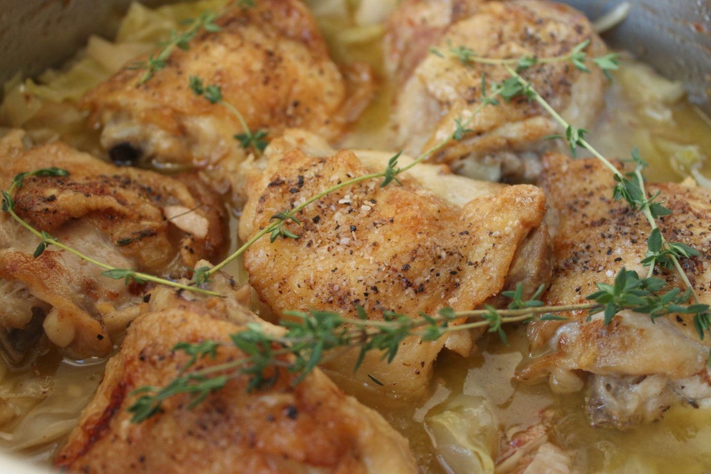 Braised chicken thighs - an easy weeknight dinner.