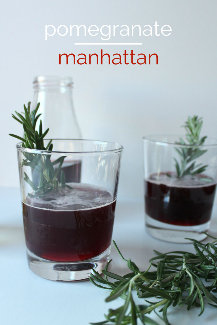 A twist on a classic cocktail: pomegranate Manhattan.