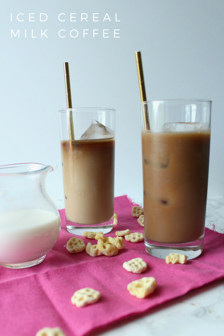 Iced cereal milk coffee made with Honey Combs.